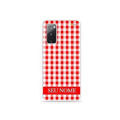 Capa Vichy Vermelho personalizada com nome para Samsung - 99Capas
