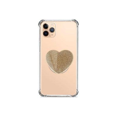 Popsocket Glitter Coração Dourado - 99Capas