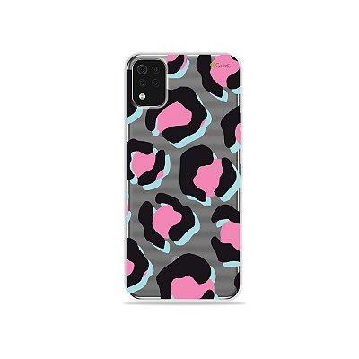 Capa (Transparente) para LG K52 - Animal Print Black & Pink