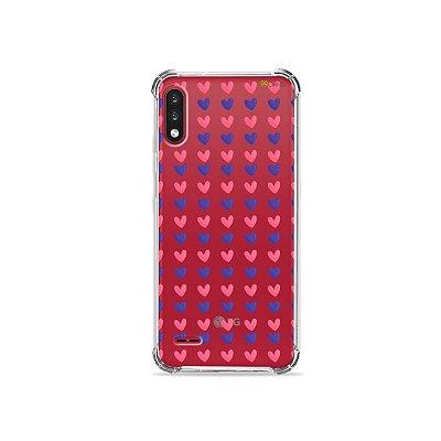 Capa (Transparente) para LG K22 - Corações Roxo e Rosa