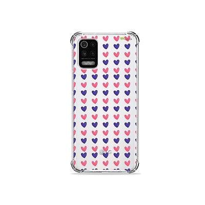 Capa (Transparente) para LG K62 - Corações Roxo e Rosa