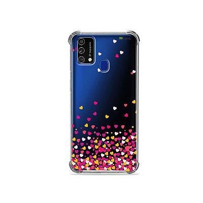 Capa (Transparente) para Galaxy M21s - Corações Rosa
