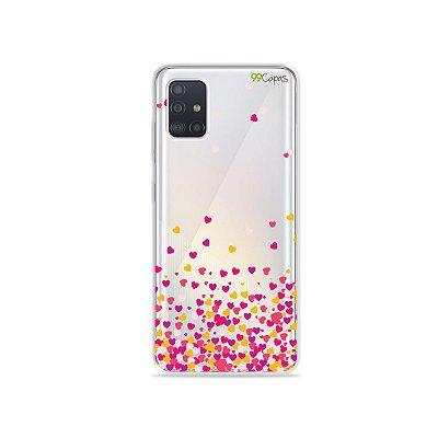 Capinha (transparente) para Galaxy A51 - Corações Rosa