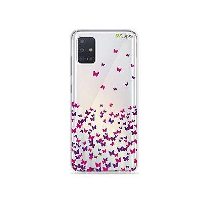 Capinha (transparente) para Galaxy A51 - Borboletas Flutuantes