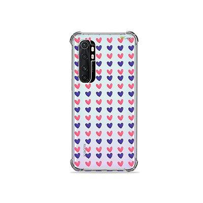 Capa (transparente) para Xiaomi Mi Note 10 Lite - Corações Roxo e Rosa