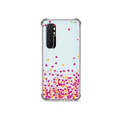 Capa (transparente) para Xiaomi Mi Note 10 Lite - Corações Rosa