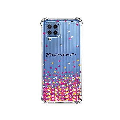Capa Corações Rosa com nome personalizado para Galaxy A - 99Capas
