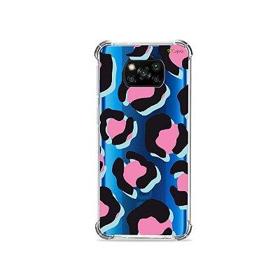 Capa (transparente) para Poco X3 - Animal Print Black & Pink