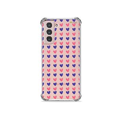 Capa (Transparente) para Galaxy S21 - Corações Roxo e Rosa