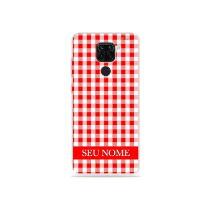Capa Vichy Vermelho personalizada com nome para Xiaomi - 99Capas