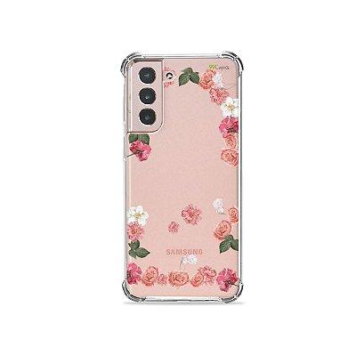 Capa (Transparente) para Galaxy S21 Plus - Pink Roses