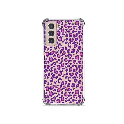 Capa (Transparente) para Galaxy S21 Plus - Animal Print Purple