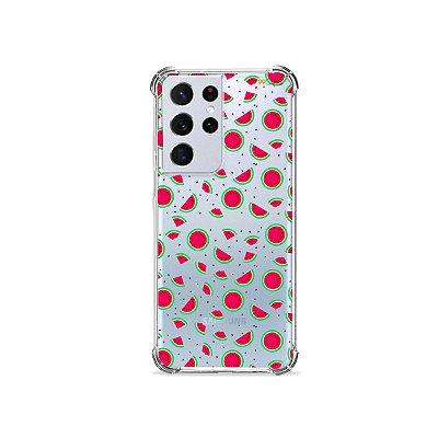 Capa (Transparente) para Galaxy S21 Ultra - Mini Melancias