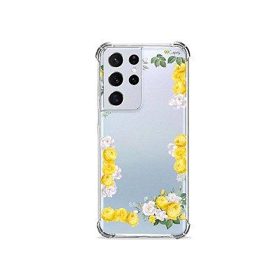 Capa (Transparente) para Galaxy S21 Ultra - Yellow Roses