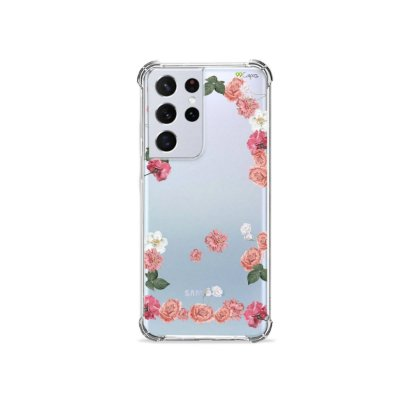 Capa (Transparente) para Galaxy S21 Ultra - Pink Roses
