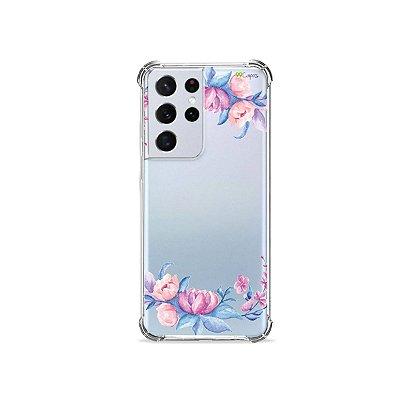 Capa (Transparente) para Galaxy S21 Ultra - Bromélias