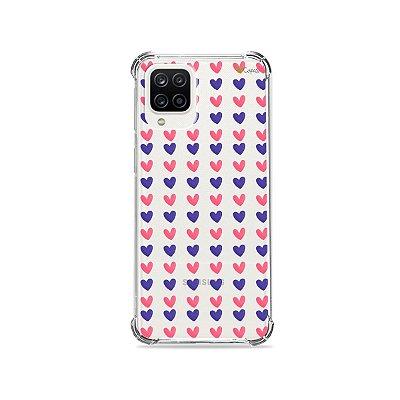 Capa (Transparente) para Galaxy A12 - Corações Roxo e Rosa