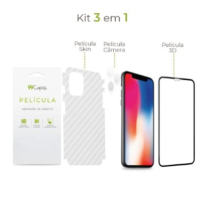 Kit de Películas 3 em 1 para iPhone 11 Pro Max