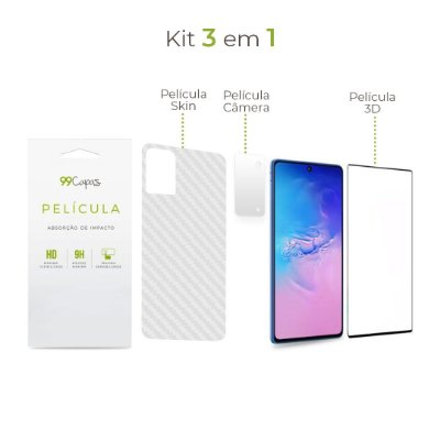 Kit de Películas 3 em 1 para Galaxy S10 Lite