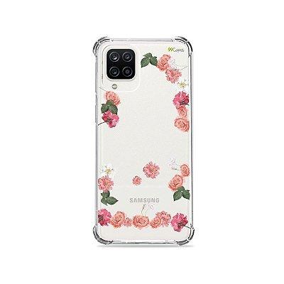 Capa (Transparente) para Galaxy A12 - Pink Roses