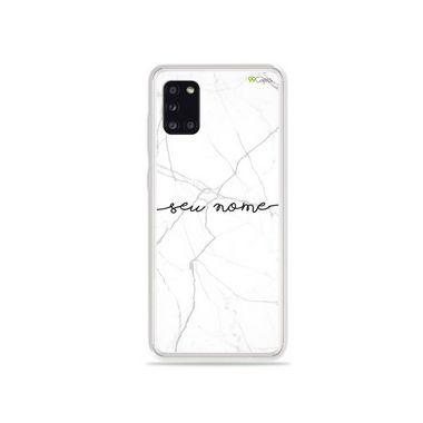 Capa Marble White com nome personalizado para Samsung S