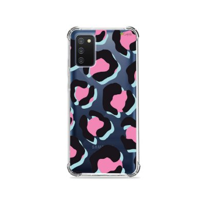 Capa (Transparente) para Galaxy A02s - Animal Print Black & Pink