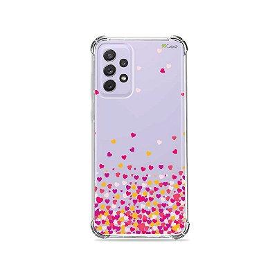 Capa (Transparente) para Galaxy A72 - Corações Rosa