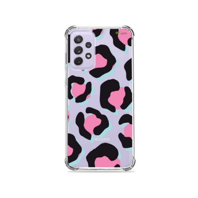 Capa (Transparente) para Galaxy A72 - Animal Print Black & Pink