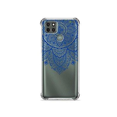 Capa (Transparente) para Moto G9 Power - Mandala Azul
