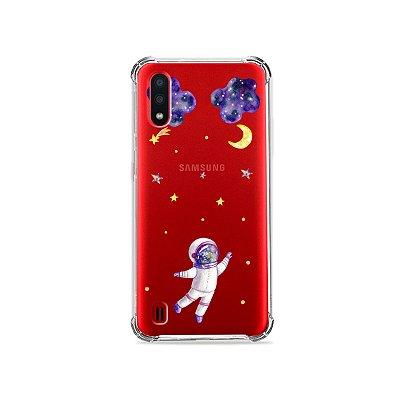 Capa (Transparente) para Galaxy A01 - Astronauta Sonhador