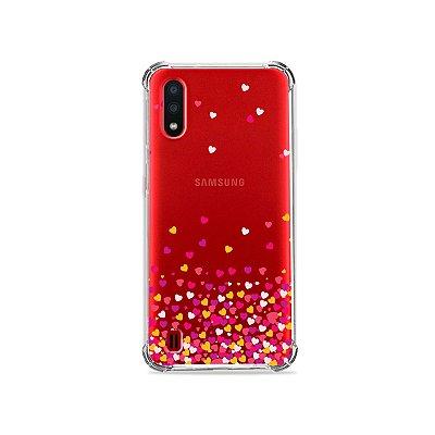 Capa (Transparente) para Galaxy A01 - Corações Rosa