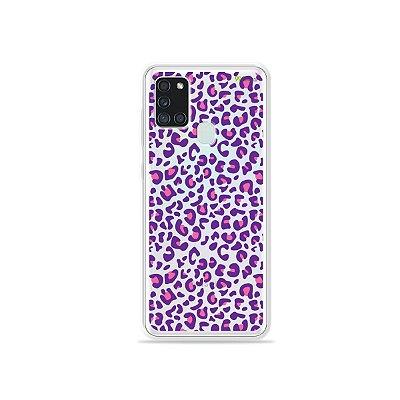 Capa (Transparente) para Galaxy A21s - Animal Print Purple