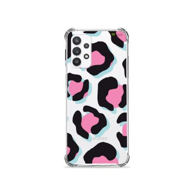 Capa (Transparente) para Galaxy A32 4G - Animal Print Black & Pink