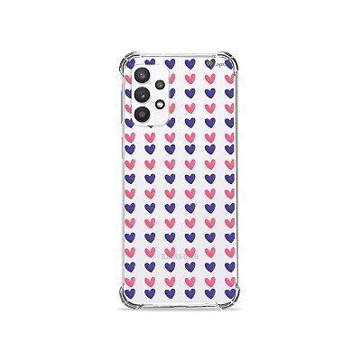 Capa (Transparente) para Galaxy A52 - Corações Roxo e Rosa