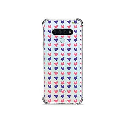 Capinha para LG K71 - Corações Roxo e Rosa