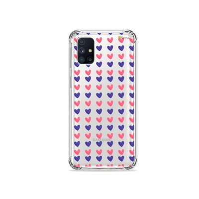 Capa (Transparente) para Galaxy M51 - Corações Roxo e Rosa