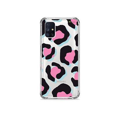 Capa (Transparente) para Galaxy M51 - Animal Print Black & Pink