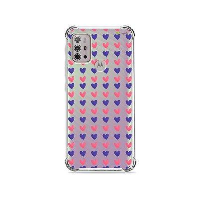 Capa (Transparente) para Moto G10 - Corações Roxo e Rosa