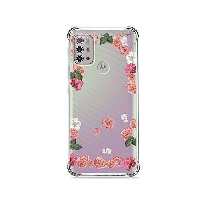 Capa (Transparente) para Moto G10 - Pink Roses