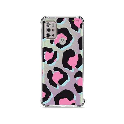 Capa (Transparente) para Moto G10 - Animal Print Black & Pink