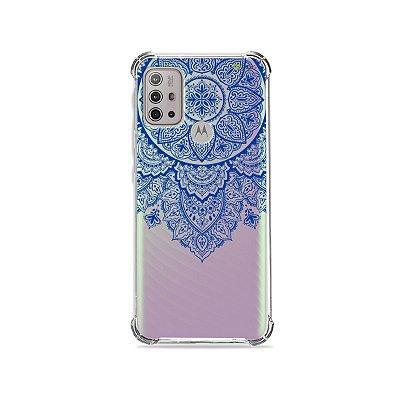 Capa (Transparente) para Moto G10 - Mandala Azul