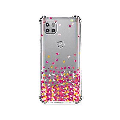 Capa (Transparente) para Moto G 5G - Corações Rosa
