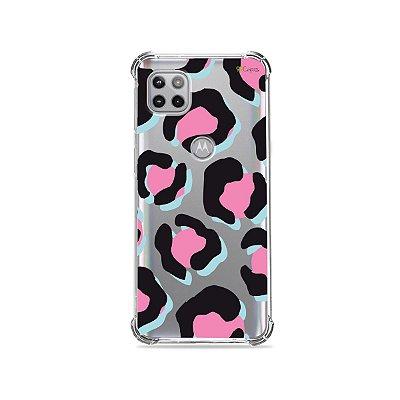 Capa (Transparente) para Moto G 5G - Animal Print Black & Pink