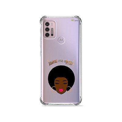 Capa (Transparente) para Moto G30 - Black Lives