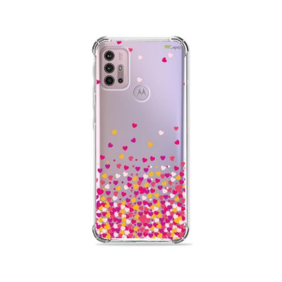 Capa (Transparente) para Moto G30 - Corações Rosa