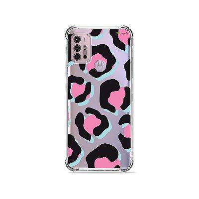 Capa (Transparente) para Moto G30 - Animal Print Black & Pink