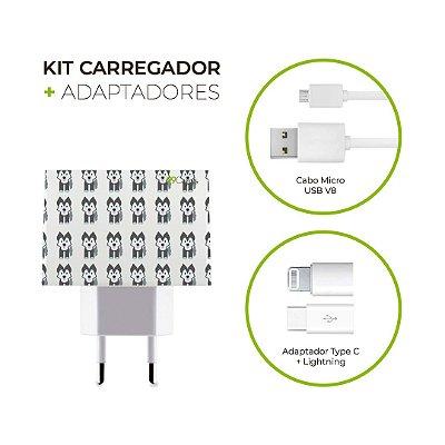 Kit Carregador Personalizado Duplo USB de Parede + Cabo Micro Usb Personalizado + Adaptador Type C  - Husk