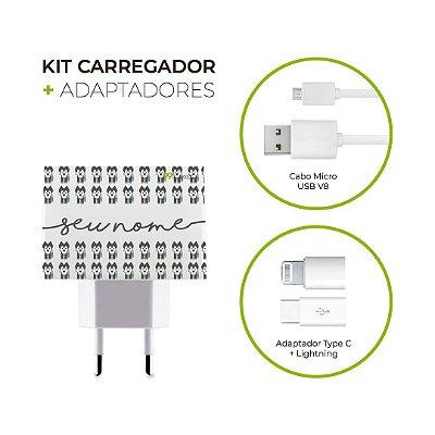 Kit Carregador Personalizado com nome Duplo USB de Parede + Cabo Micro Usb Personalizado com nome + Adaptador Type C  + Adaptador Lightning - Husky