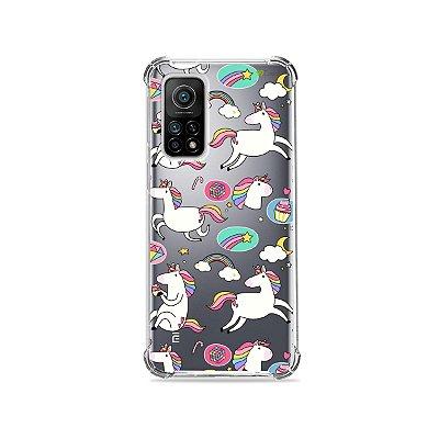 Capa (Transparente) para Xiaomi Mi 10T Pro - Unicórnios Felizes