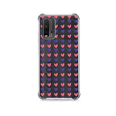 Capa (Transparente) para Redmi 9T - Corações Roxo e Rosa